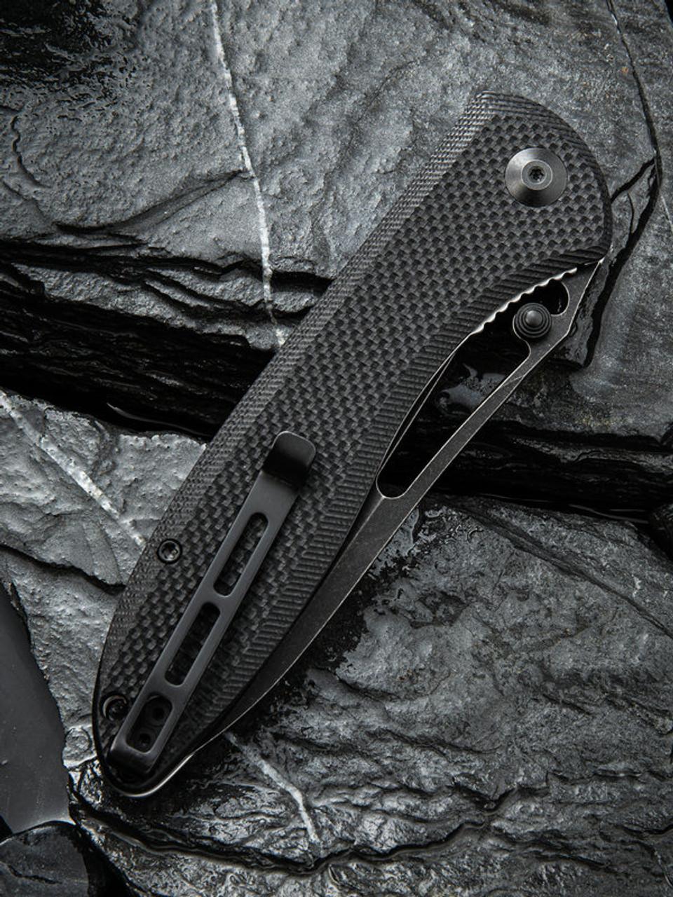 "Civivi Picaro Linerlock Folder C916D, 3.94"" D2 Black Stonewash Drop Point Plain Blade, Black G-10 Handle"