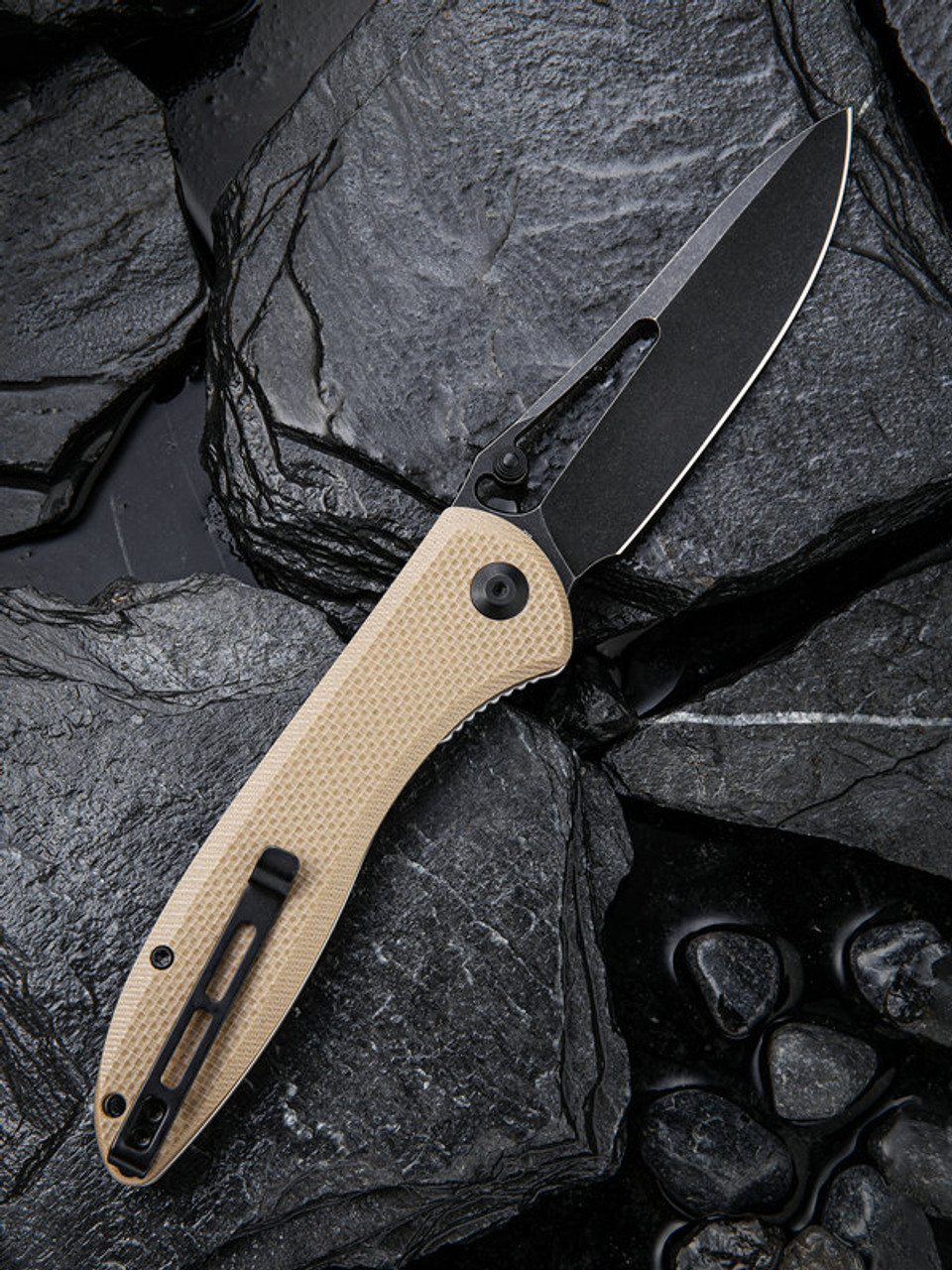 "Civivi Picaro Linerlock Folder C916B, 3.94"" D2 Black Stonewash Drop Point Plain Blade, Tan G-10 Handle"