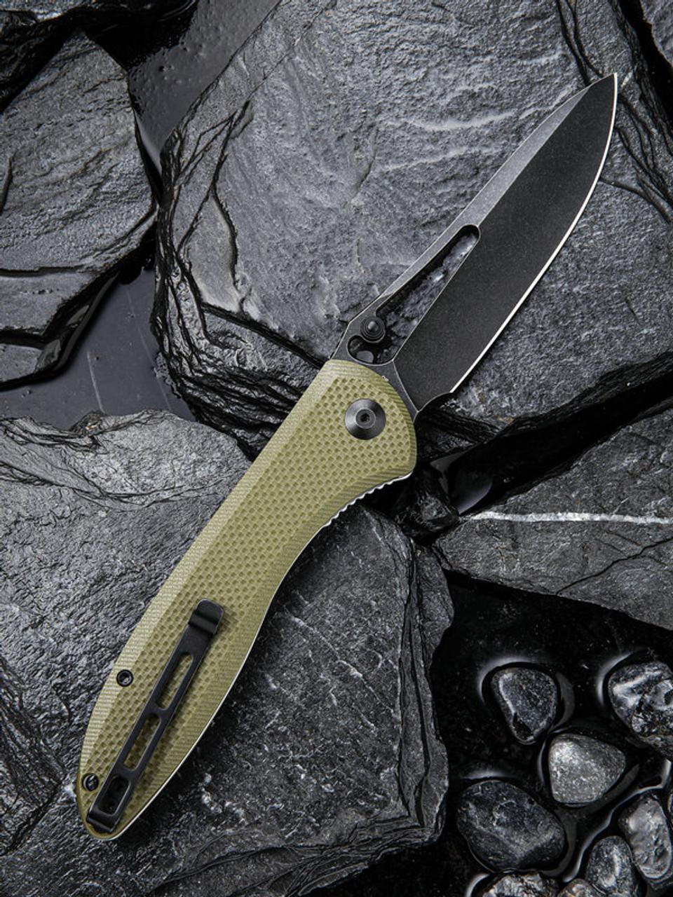 "Civivi Picaro Linerlock Folder C916A, 3.94"" D2 Black Stonewash Drop Point Plain Blade, Green G-10 Handle"