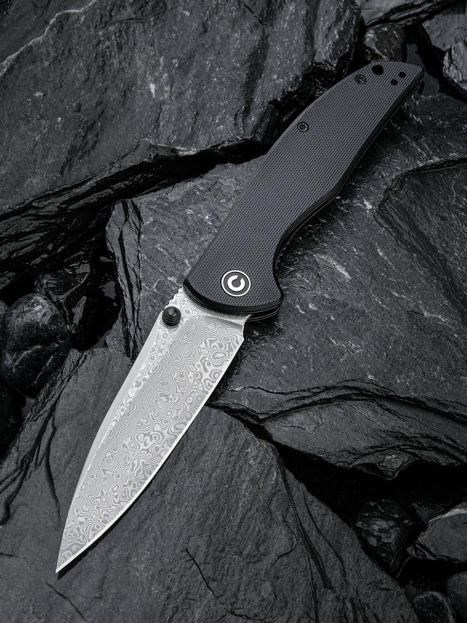 "Civivi  Governor Linerlock C911DS, 3.86"" Damascus Drop Point Plain Blade, Black G-10 Handle"