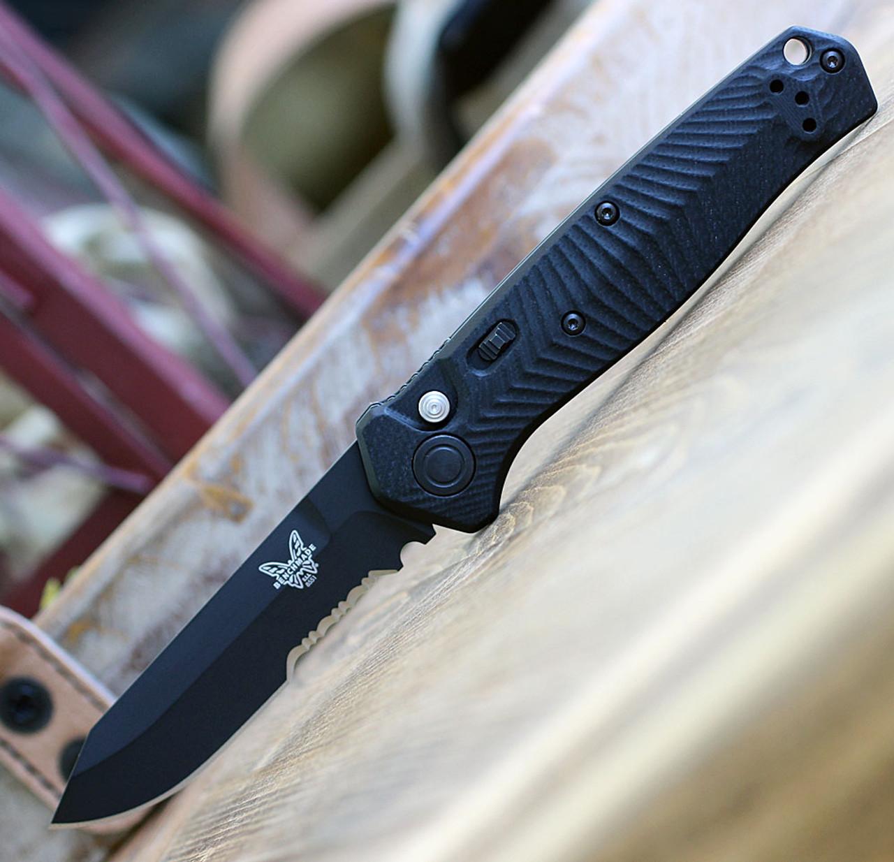 "Benchmade 8551SBK Mediator, 3.30"" CPM-S90V Tanto Black PArt Serrated Blade, Black G-10 Handle"