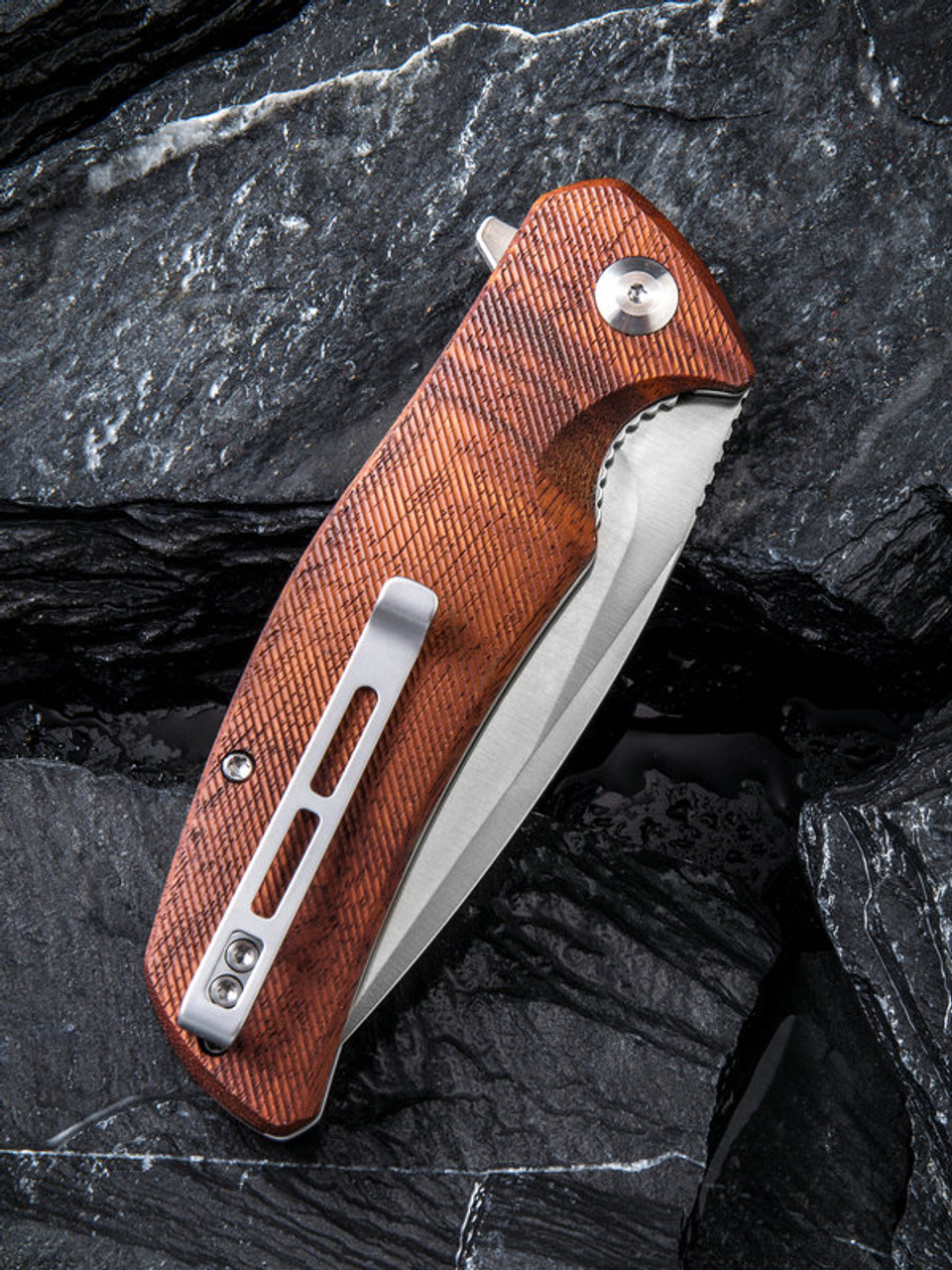 "Civivi Incite Linerlock Folder C908D, 3.7"" D2 Satin Plain Blade, Cuibourtia Wood Handle"