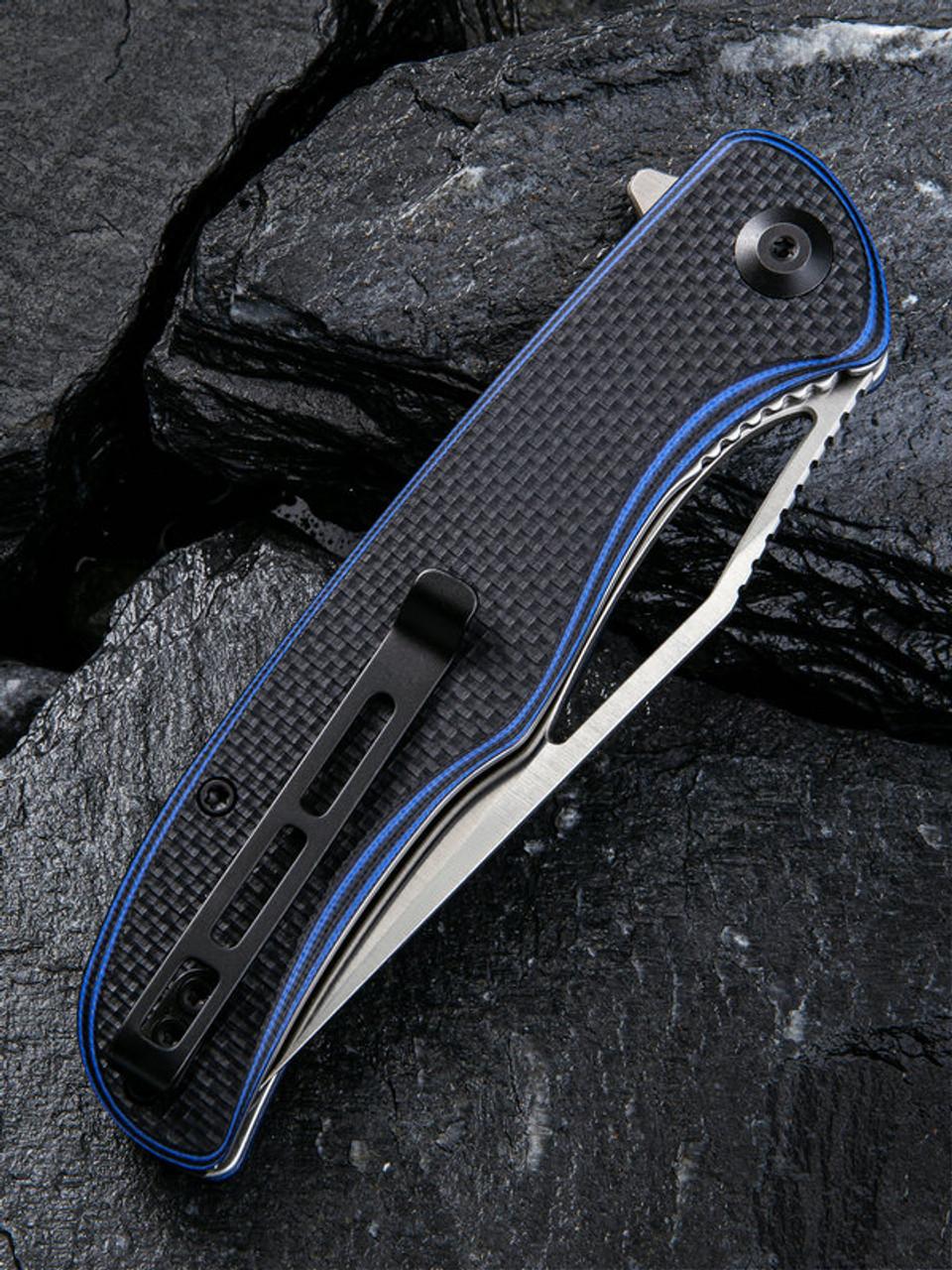 "Civivi Shredder Linerlock Folder C912A, 3.70"" D2 Satin Clip Point Plain Blade, Blue and Black Layered G10 With A Coarse Texture Handle"