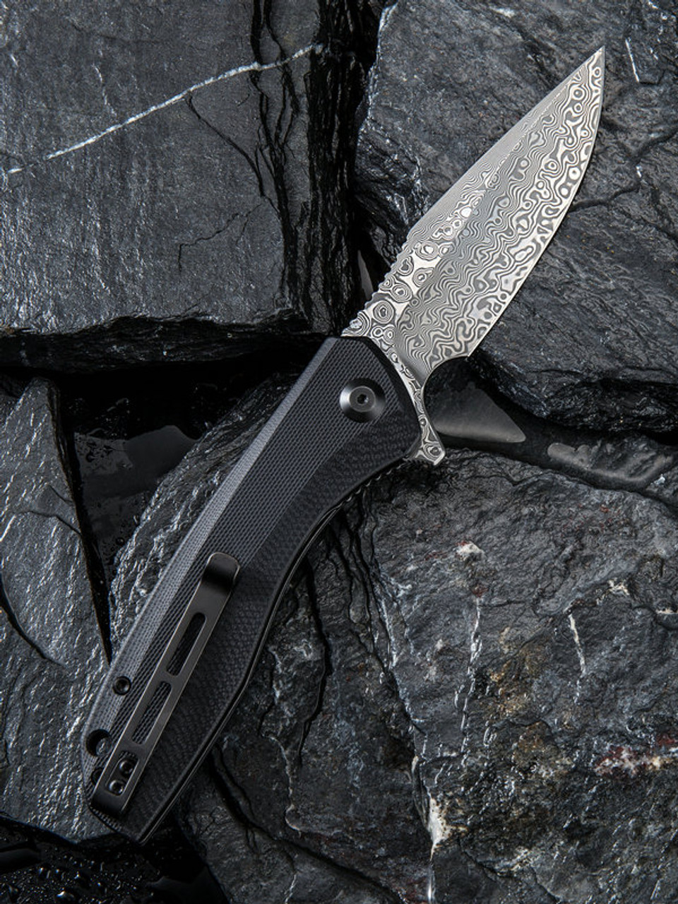 "Civivi Baklash Linerlock Folder C801DS,  3.5"" Damascus Drop Point Plain Blade, Black G-10 Handle"