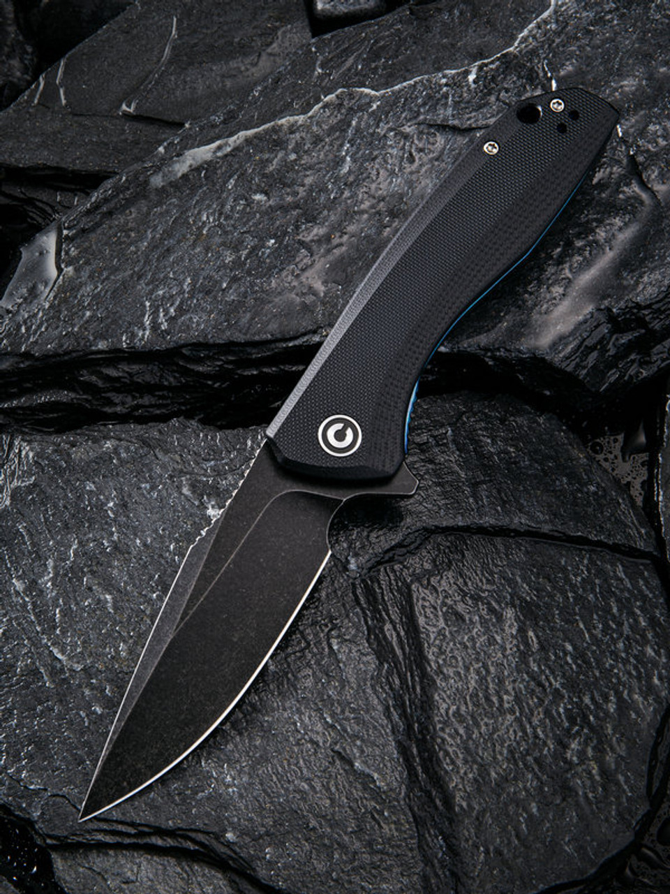 """Civivi Baklash Linerlock Folder C801H, 3.5"""" 9Cr18MoV Drop Point Black Stonewash Plain Blade,  Black G10 Handle"""