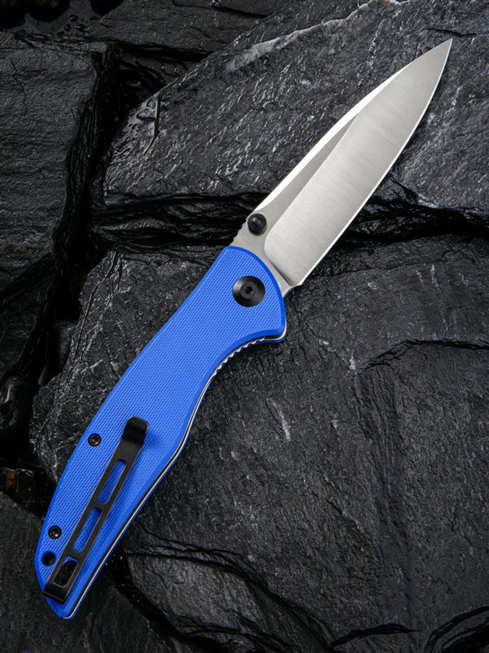 "Civivi Governor Linerlock Folder C911B, 3.86"" D2 Drop Point Satin Plain Blade, Blue G-10 Handle"