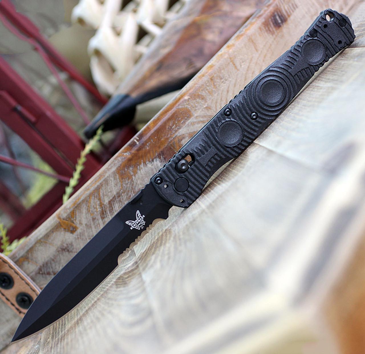 """Benchmade 391SBK SOCP Tactical Folder, 4.47"""" D2 Steel Balck ComboEdge, CF-Elite Handle"""