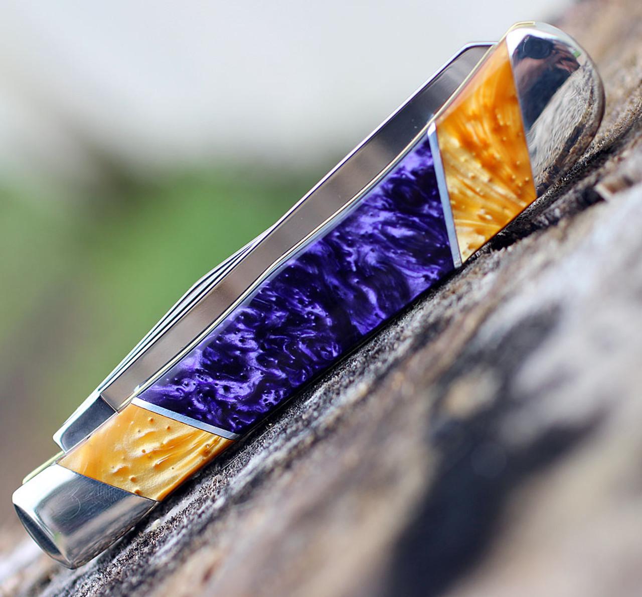 Case LSU19-CATPG Trapper Gift Set, LSU Purple & Gold Corelon Handle (9254 SS)