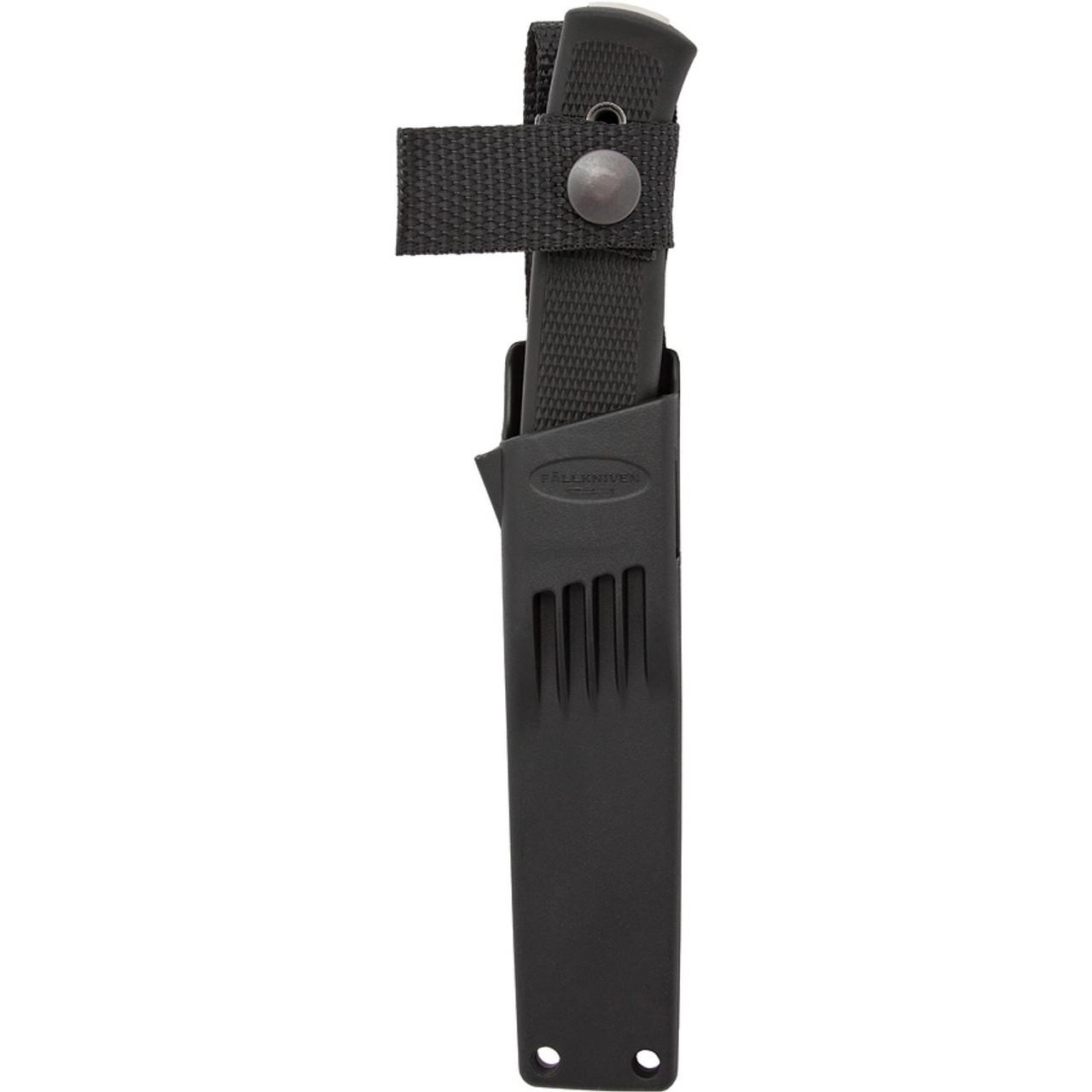 "Fallkniven F1BZ Military Survival Left Hand Sheath, 3.8"" Laminated VG10 Black Plain Blade, Thermorun Handle"