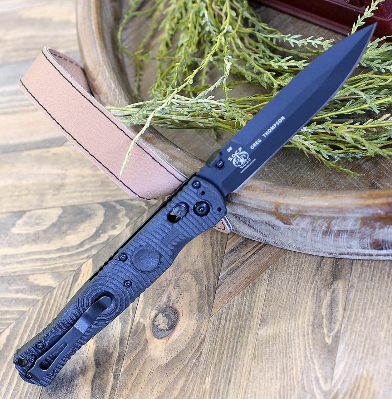 "Benchmade 391BK SOCP Tactical Folder, 4.47"" D2 Steel Balck Plain Blade, CF-Elite Handle"