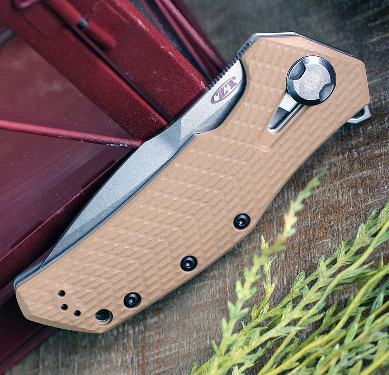 "Zero Tolerance 0308 Framelock Folder, 3.75"" CPM-20CV Stonewash Drop Point Plain Blade, Coyote Brown G-10 Handle"
