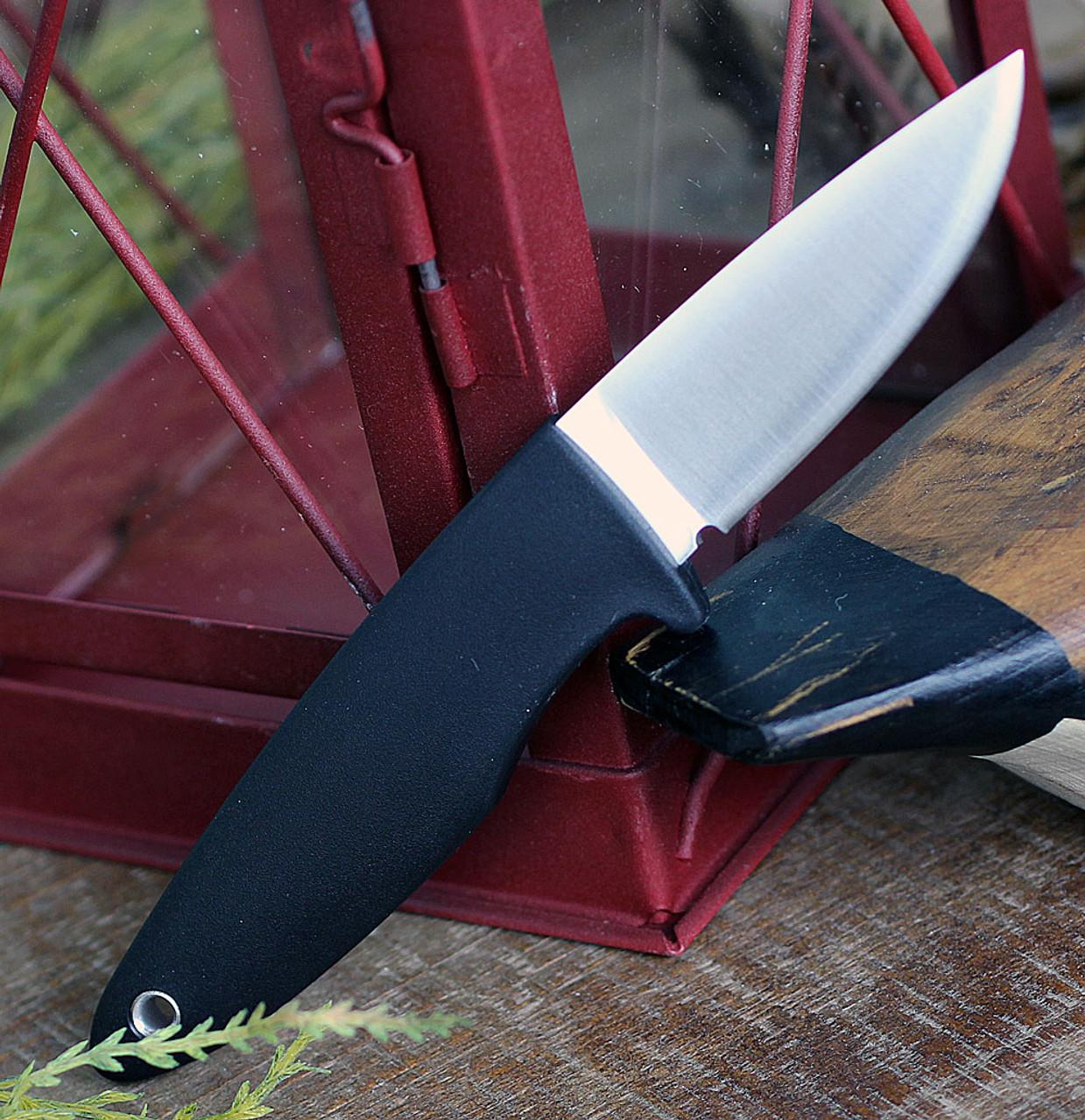 "Fallkniven WM1 Fixed Blade Sporting Knife WM1ZCOS, 2.75"" Lam. CoS  Satin Drop Point Plain Blade,Black Thermorun Rubber Handle, Zytel Neck Sheath"