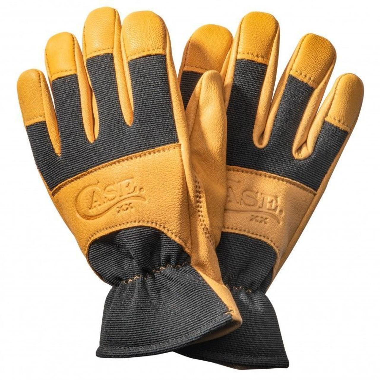 Case XX Logo Embossed Work Gloves Large Premium Tan Goatskin Leather and Black Spandex