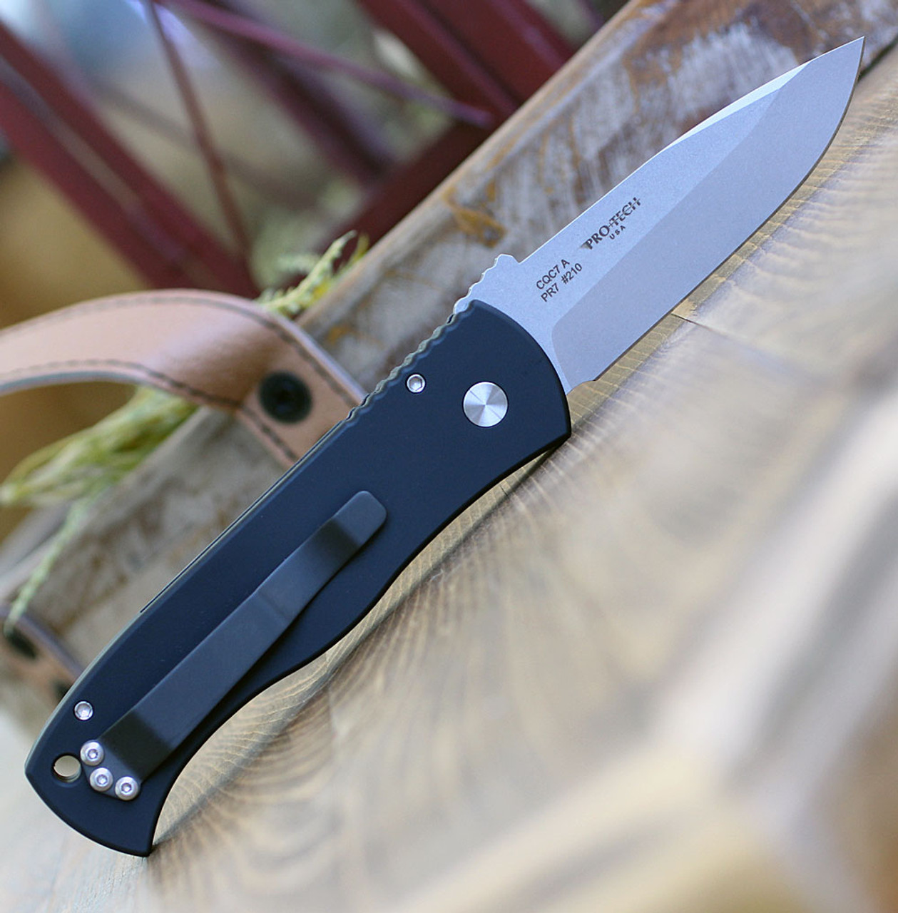 "ProTech E7A1 Emerson CQC7 Spear Point, 3.25"" 154cm Stonewash Plain Blade, Black Aluminum Handle"