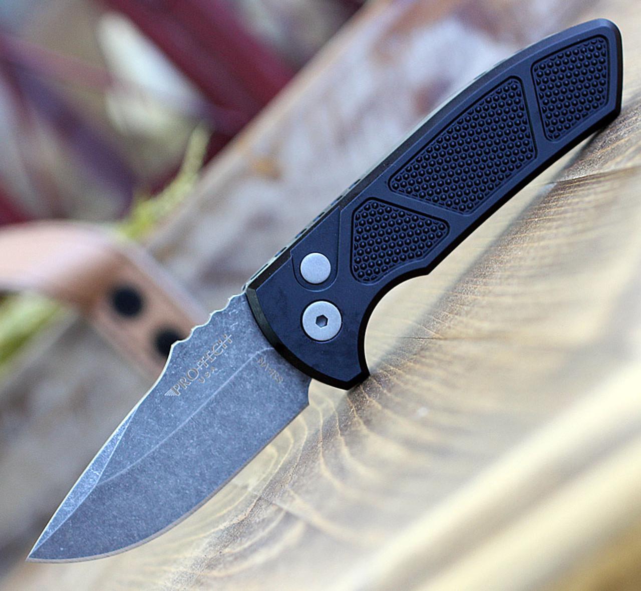 """ProTech LG415-SBR Grip Milled Black, 2.5"""" S35-VN Acid Washed Plain Blade, Aluminum Handle"""