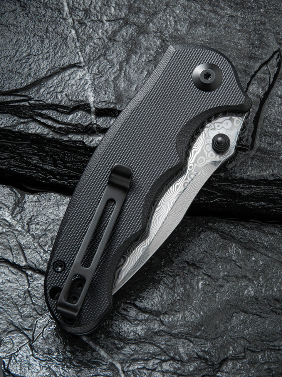 "Civivi Hooligan Linerlock Folder C913DS1, 2.98"" Drop Point Damascus  Blade, Black G-10 Handle"