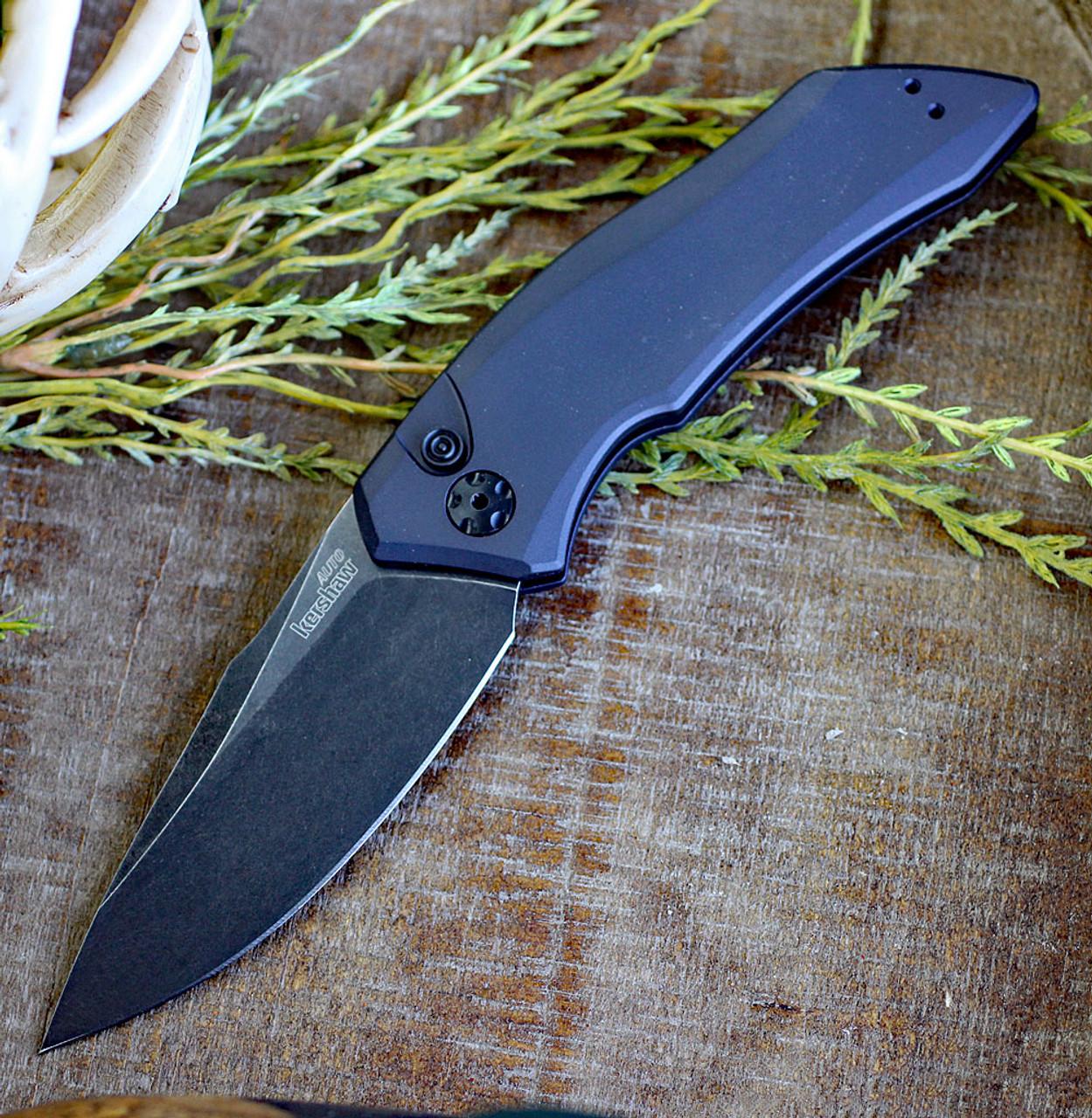 """Kershaw  7100GRYBW Launch 1 AUTO Folding Knife, 3.4"""" CPM154 Blackwash Finish Blade, Gray Aluminum Handle"""
