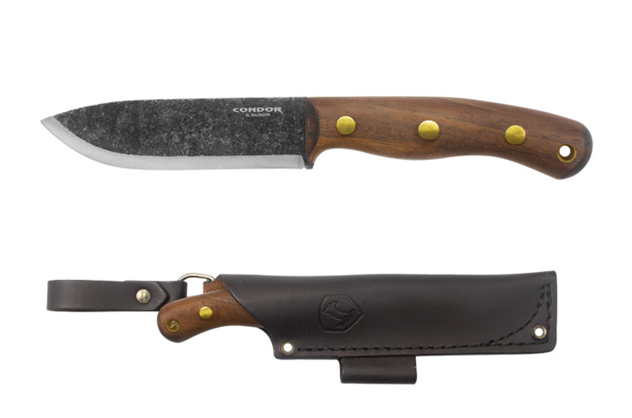 "Condor Bisonte Fixed Blade Knife CTK3954-4.7HC ,  4.7""  Classic Finish Carbon Steel Drop Point, Walnut Handle"
