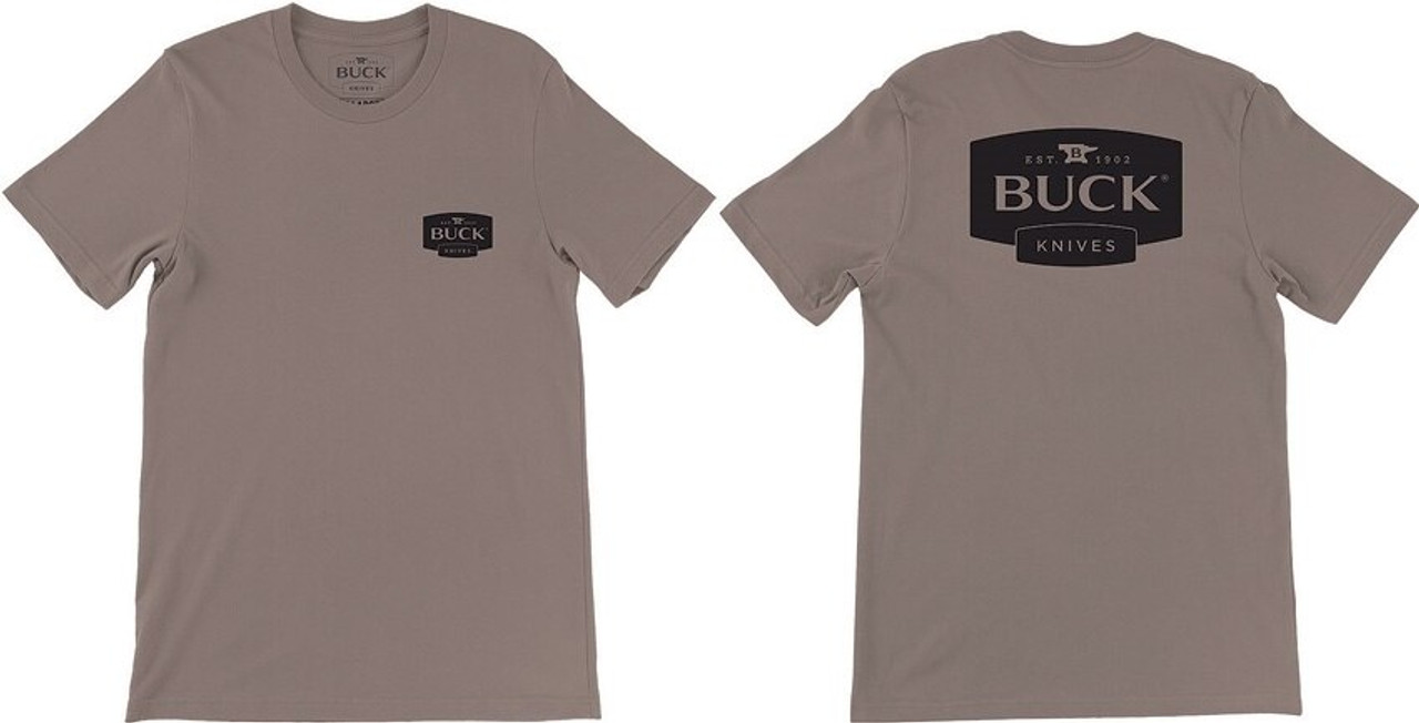 Buck BU12853 Logo T-Shirt, Brown,  Large