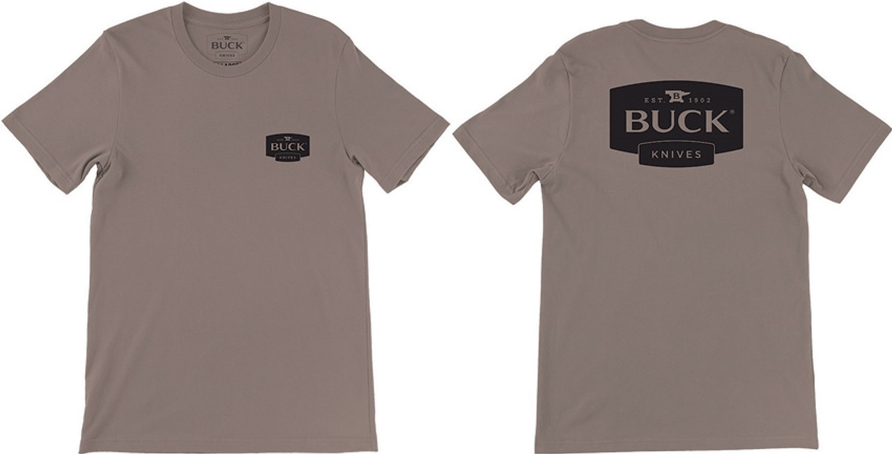 Buck BU12854 Logo T-Shirt, Brown, XX Large