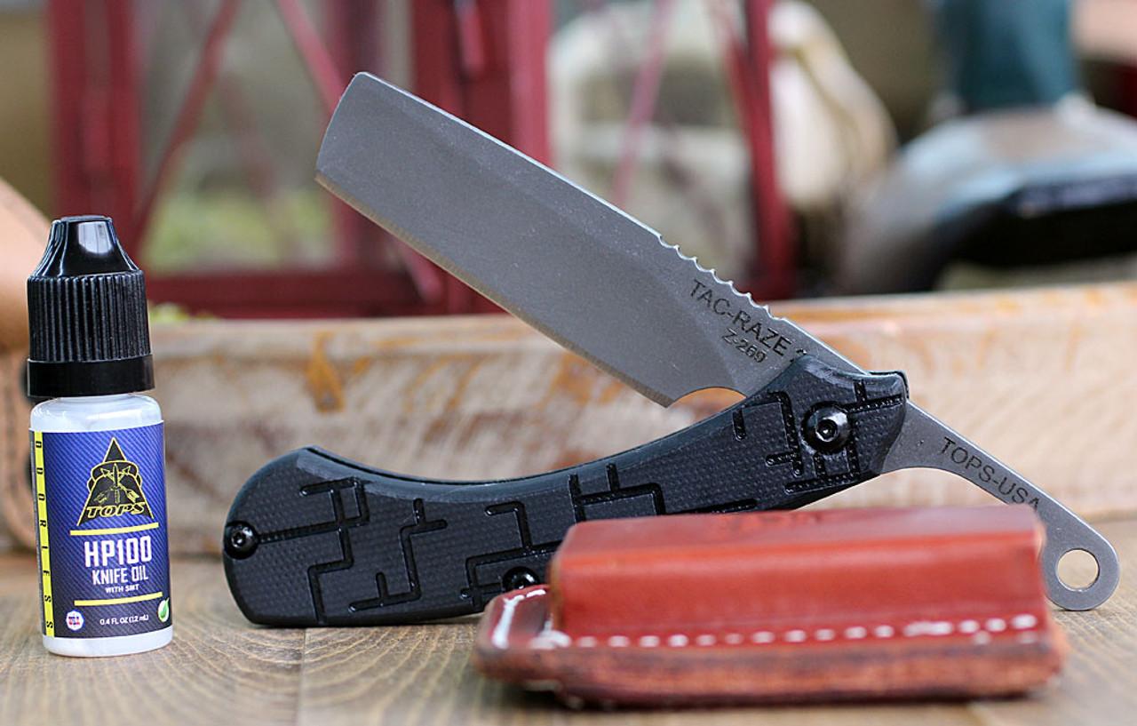 Tops Knives TRAZ03 Tac Raze Friction Folding Knife , 3.13 1095 RC Tumble Finish, Black G10 Handles