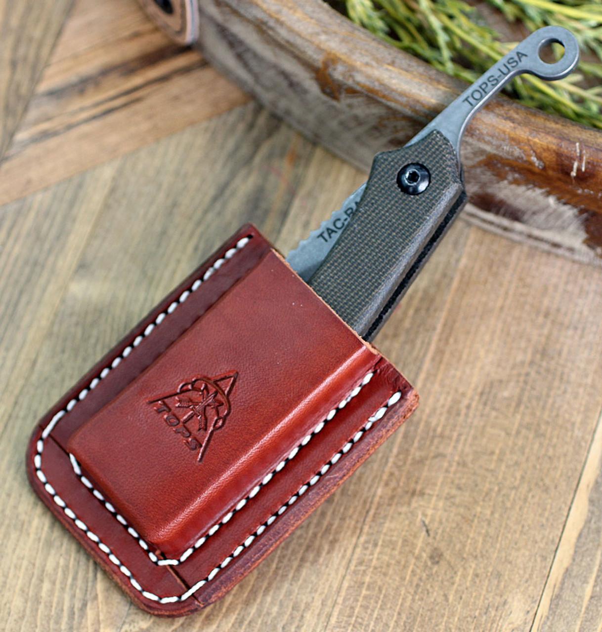"TOPS Knives TRAZ-04  Tac-Raze Friction Folding Knife  , 3.13"" 1095 Re-curve Tanto, Green Canvas Micarta"