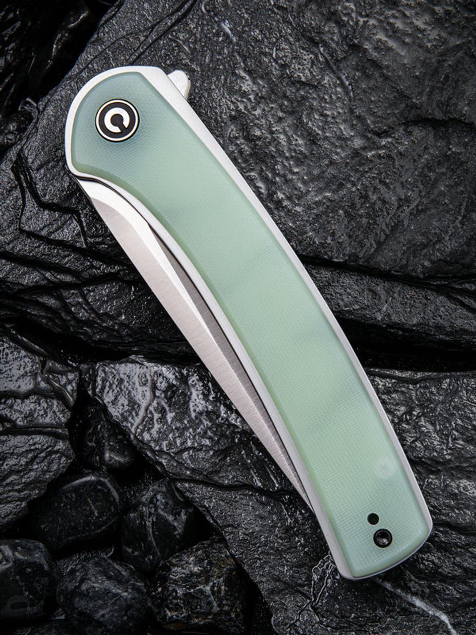 "Civivi Asticus Linerlock Folder C2002B,  3.80"" D2 Satin Plain Blade, Natural G10 Handle"