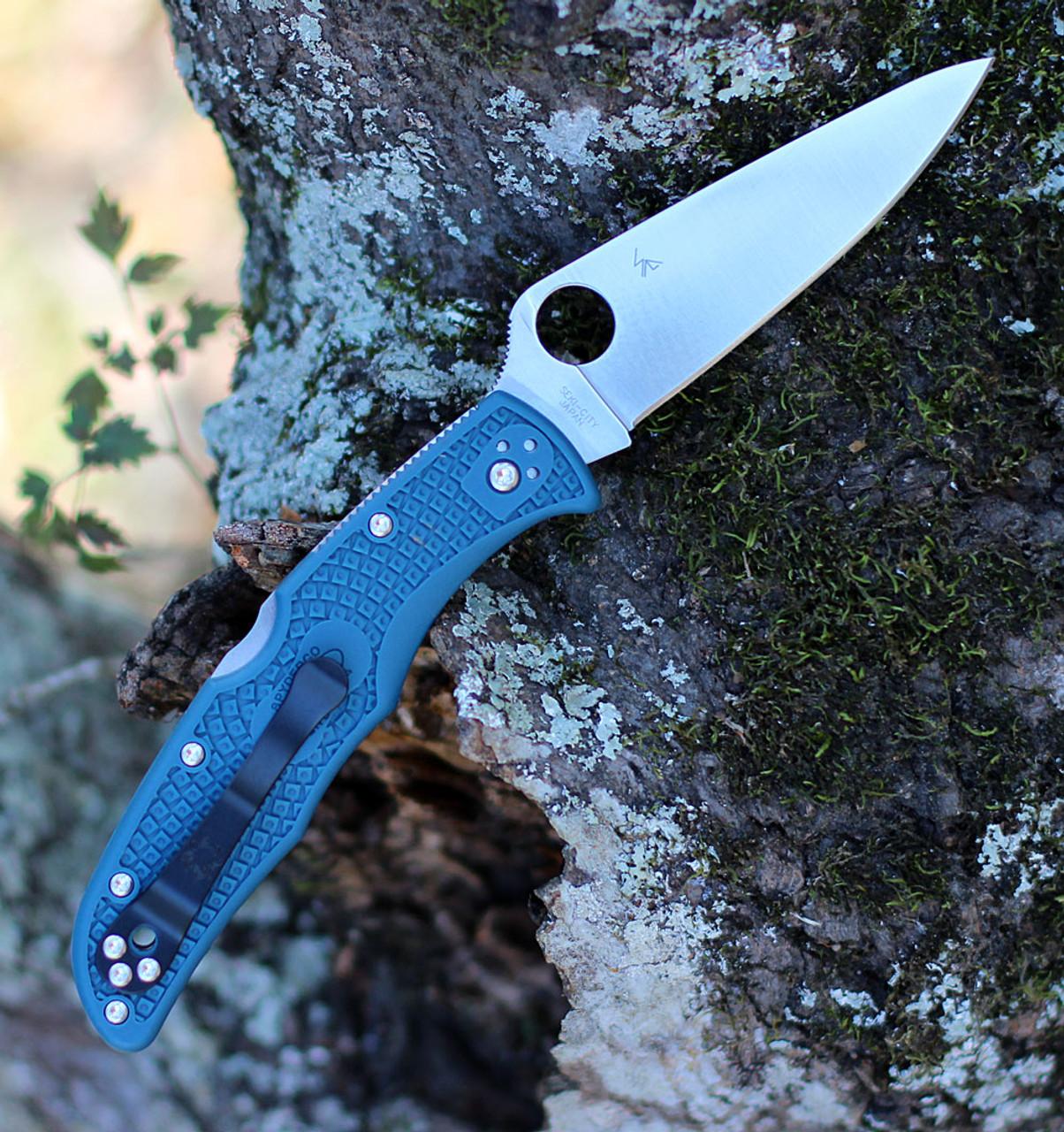 "Spyderco Endura K390 Lightweight C10FPK390, 3.8"" K390 Steel Plain Blade, Blue FRN Handle, Pre Order"