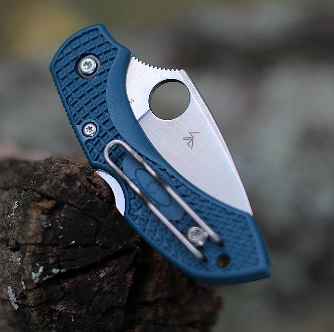 """Spyderco Dragonfly FRN K390 C28F2K390, 2.29"""" K390 Steel Plain Blade, Blue FRN Handle"""