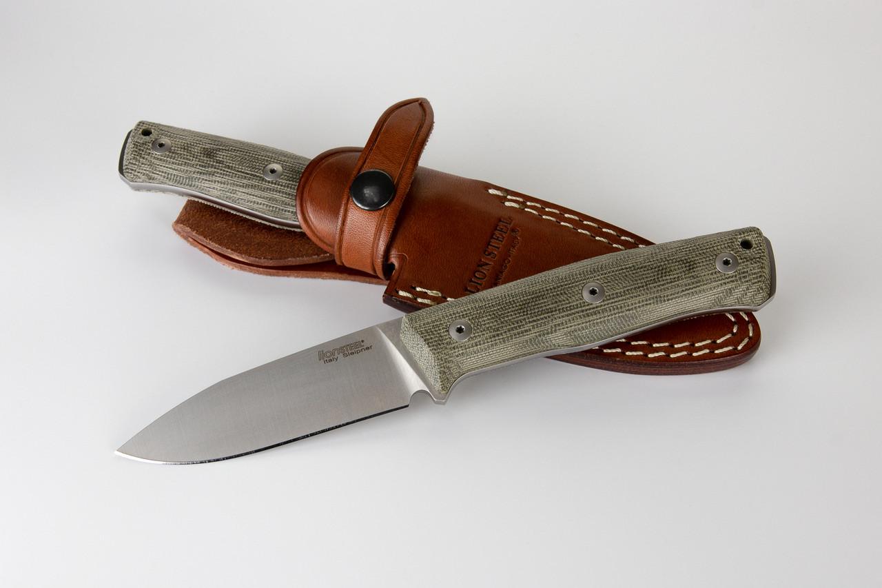 "LionSteel B35CVG 3.54"" Sleipner Steel Satin Blade, Green Canvas Micarta Handle"