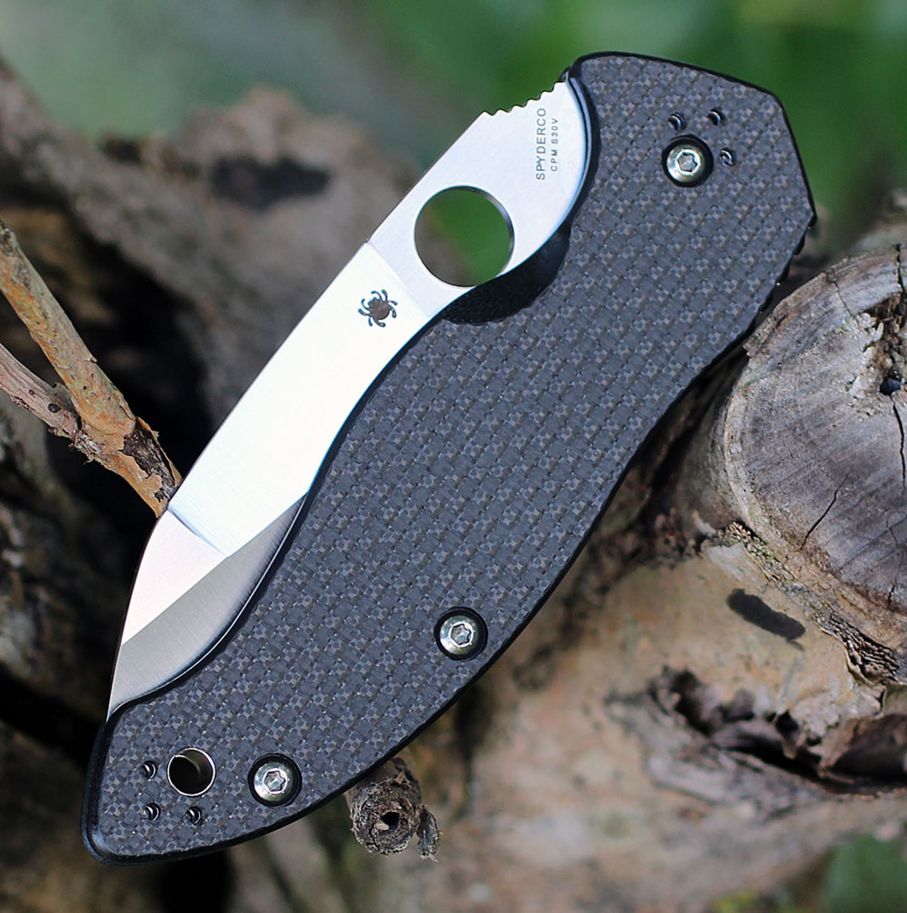 "Spyderco Canis C248CF, 3.43"" CPM S30V Satin Plain Blade, Carbon Fiber/G-10 Laminate Handle"