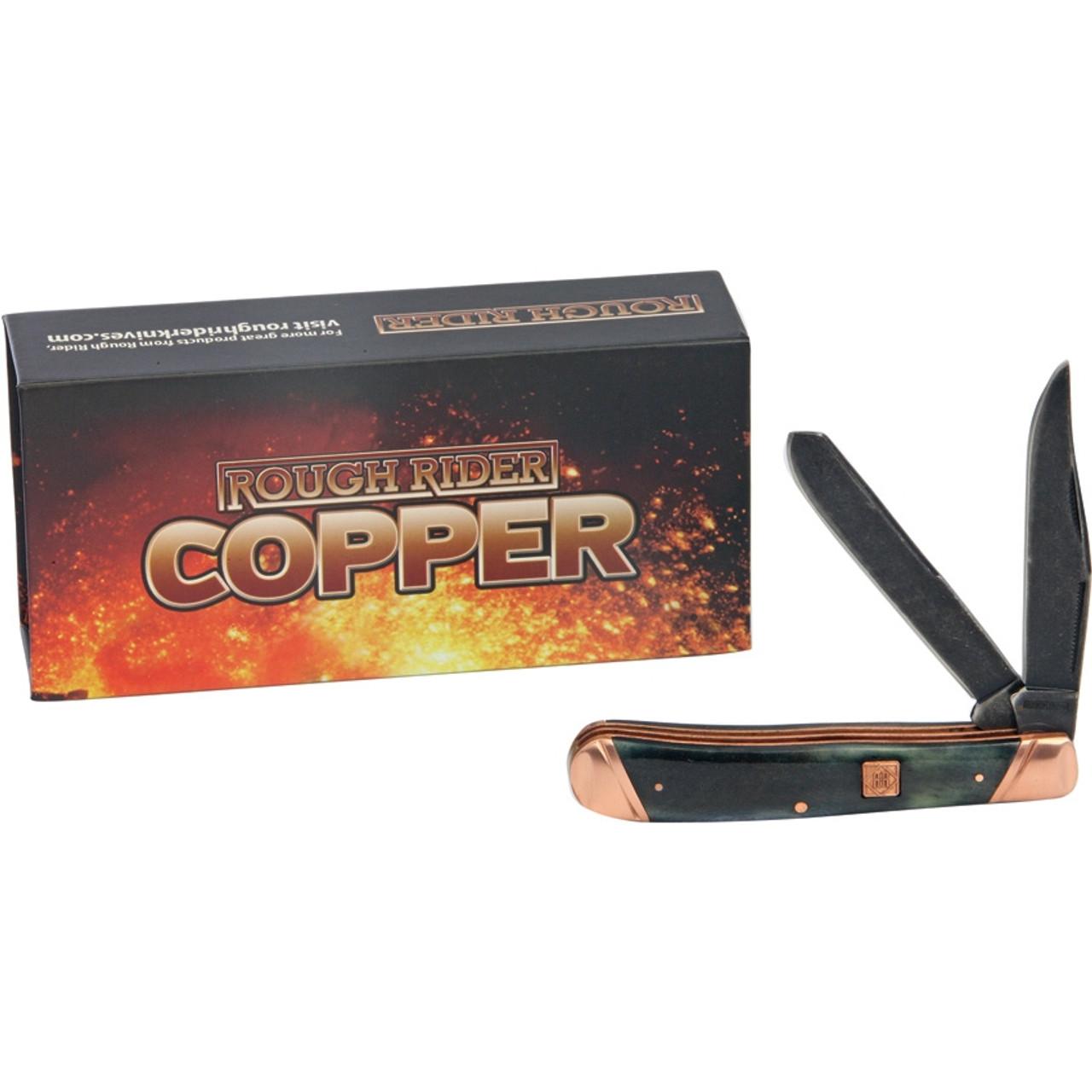 Rough Ryder Trapper, RR1584, Black Smooth Bone Handle w/ Copper Bolsters