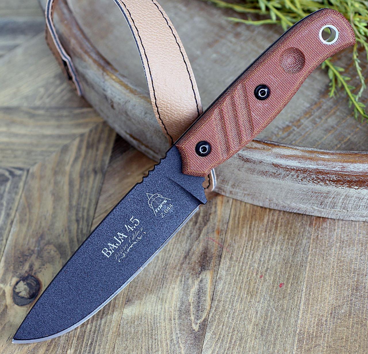 "TOPS Knives TPBAJA-4.5R Baja 4.5 Reserve Edition 4.88"" 1095 RC Black Traction Coating, Tan Canvas Micarta Handles, Brown Leather Sheath"