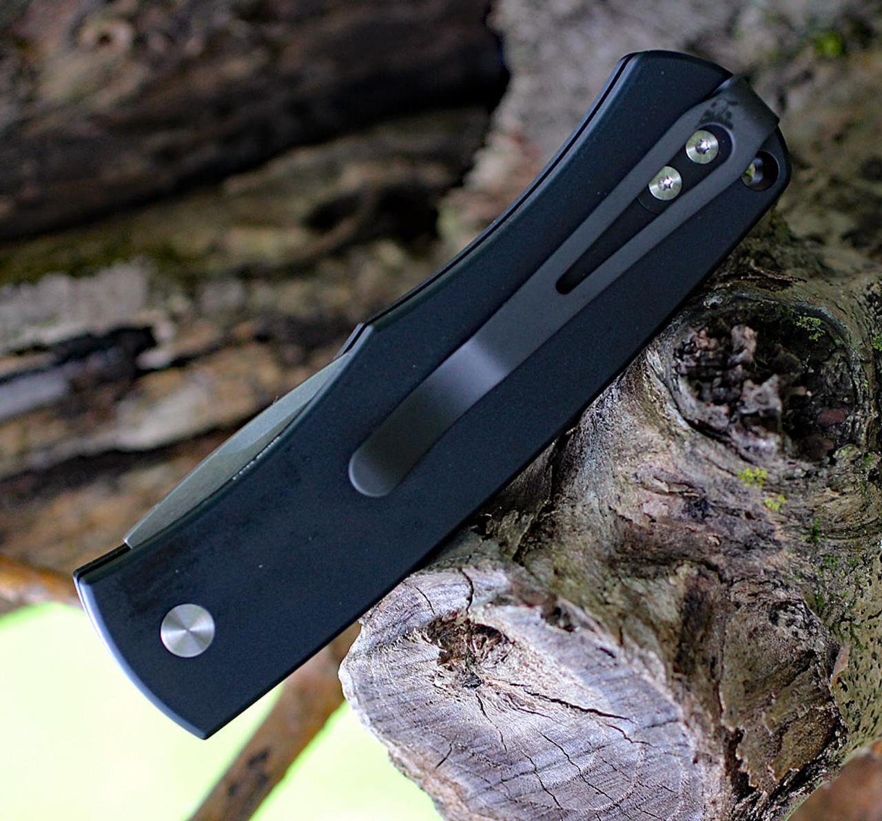 "ProTech Magic BR-1CA.3 Whiskers, 2.0"" 154CM Stonewashed Plain Blade, Black 6061-T6 Aluminum Handle"