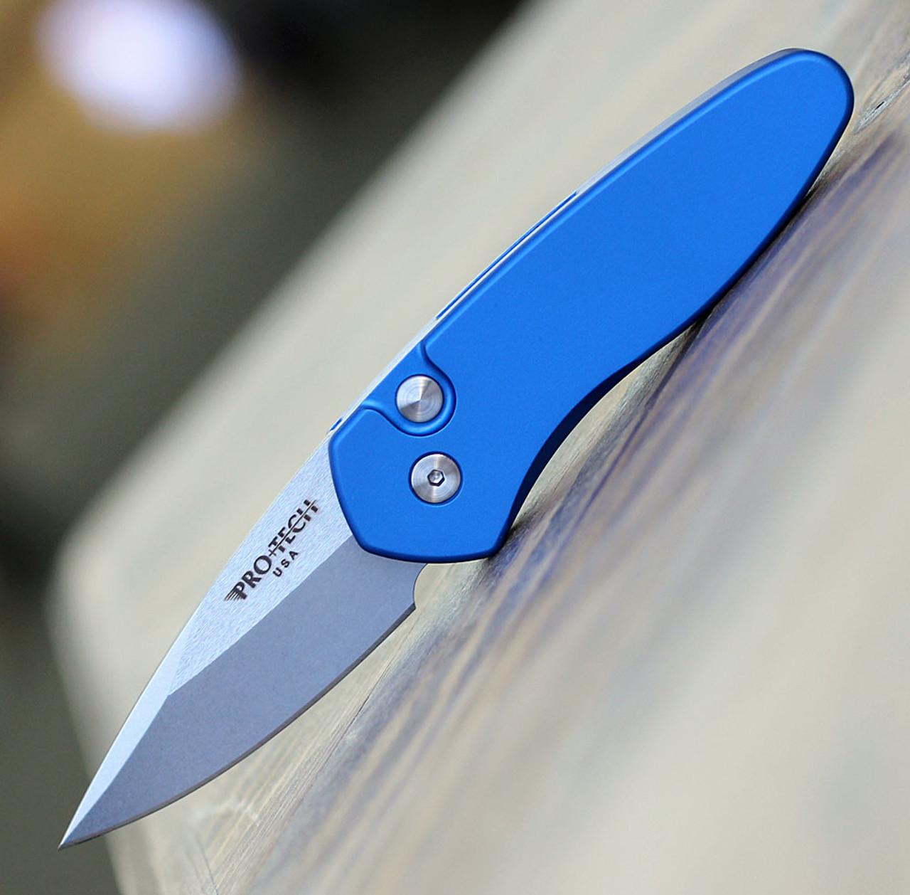 """ProTech 2905 Sprint, 2"""" S35VN Spear Point Stonewash Blade, Blue"""
