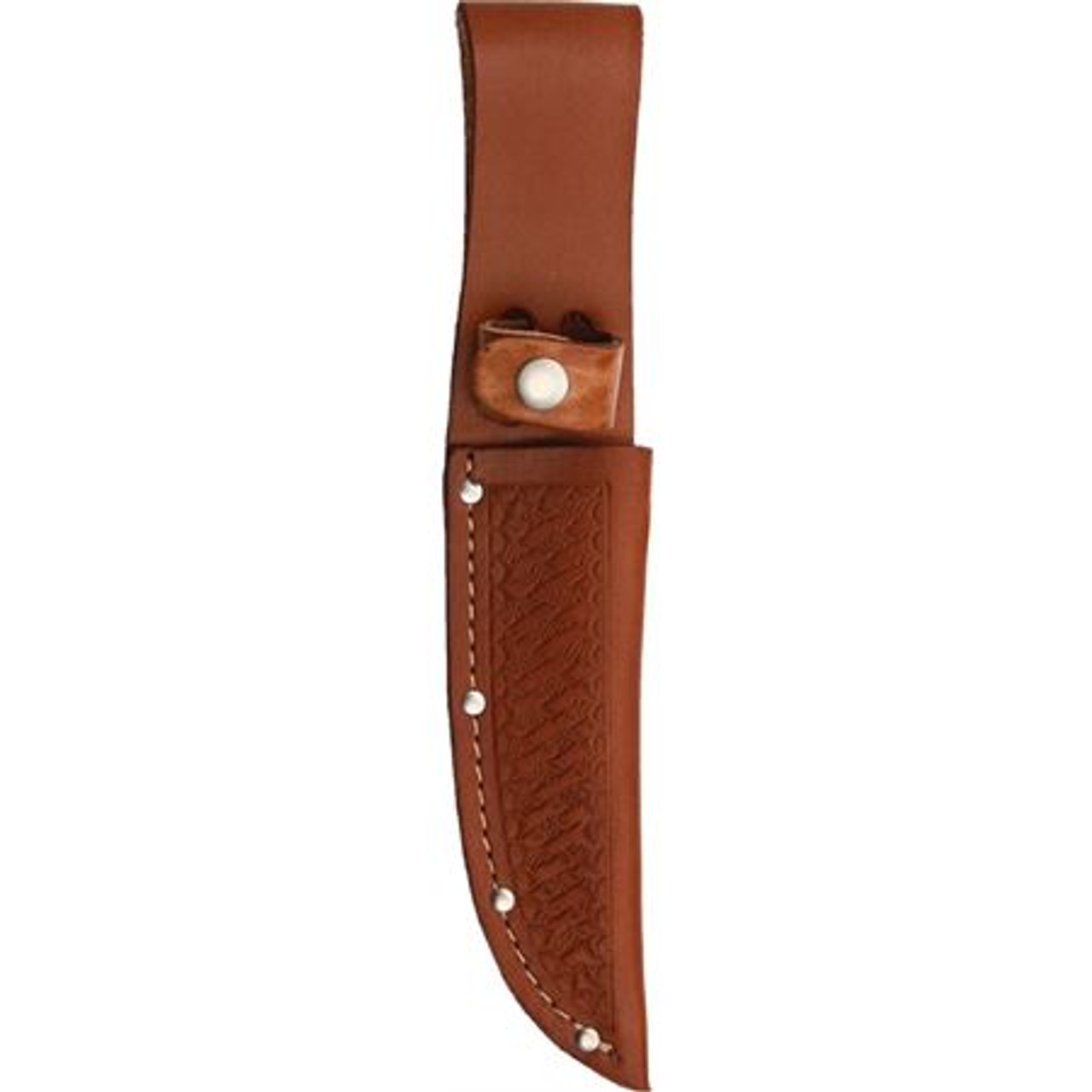 """10"""" Straight Knife Sheath, Fits up to 5"""" Blade, Brown Basketweave Leather"""