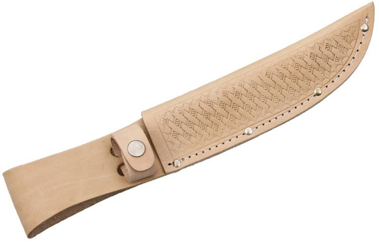 "11.25""  Straight Knife Natural Leather Belt Sheath Fits 6"" Fixed Blade"