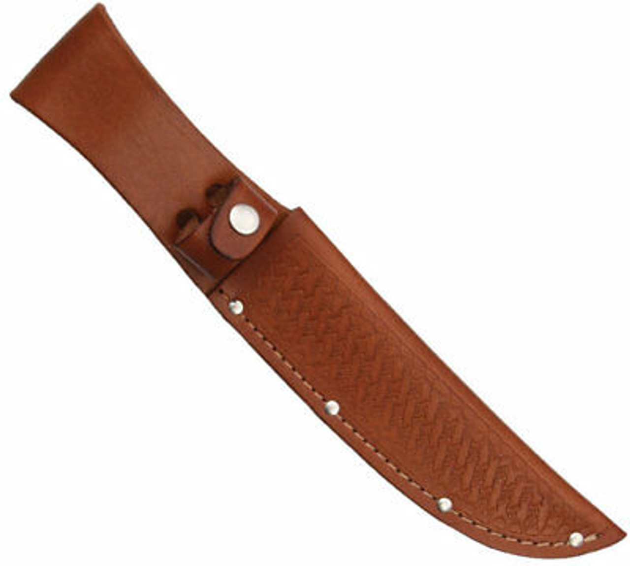 "11"" Straight Knife Sheath, Fits up to 6"" Blade, Brown Basketweave Leather"