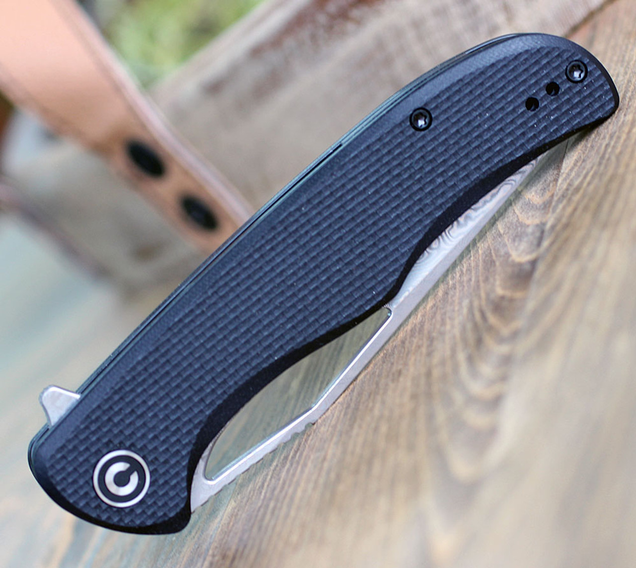 "Civivi Shredder Linerlock Damascus C912DS, 3.70"" Damascus Steel Clip Point Blade, Black Coarse G10 Handle"