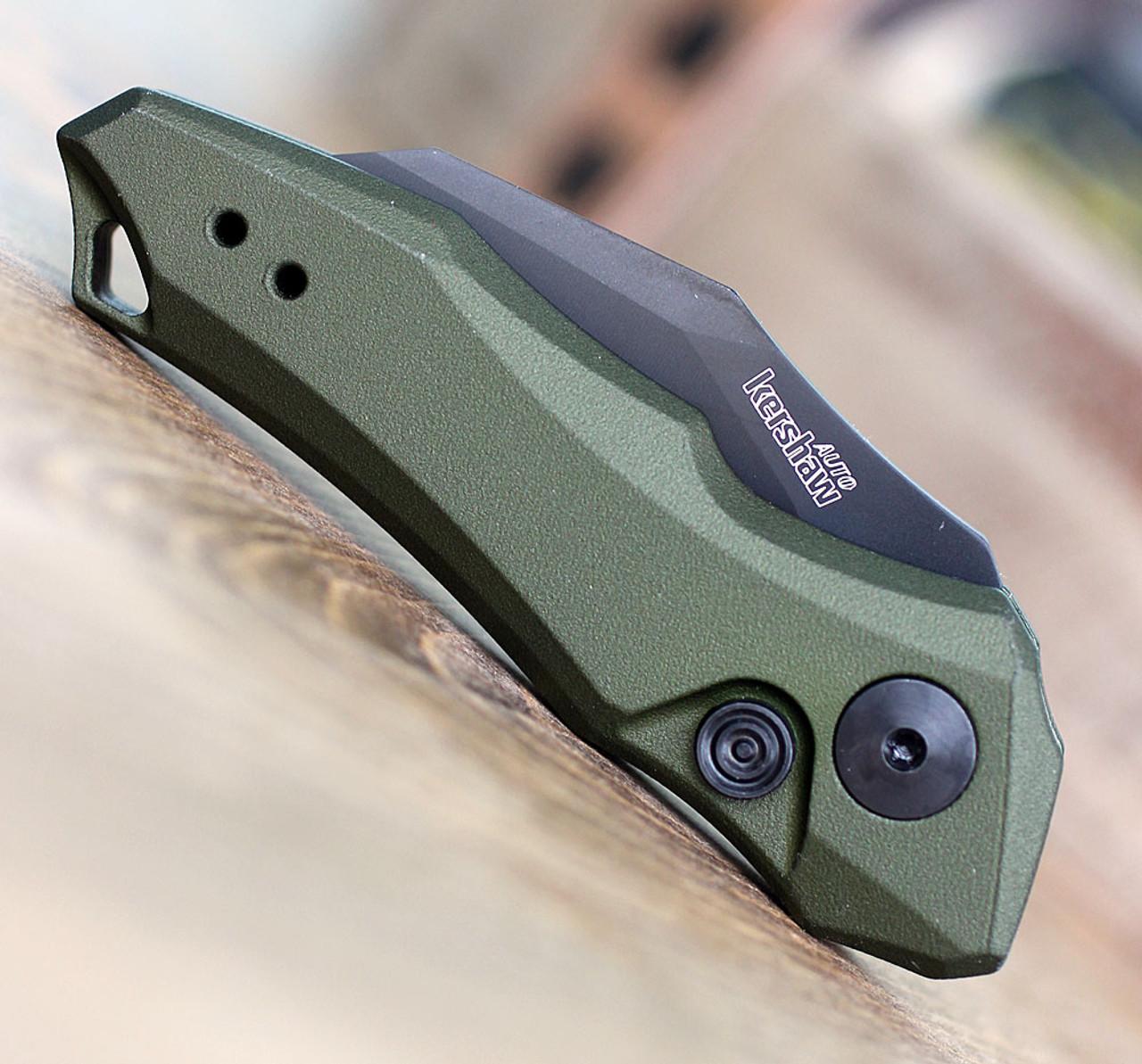 "Kershaw 7350OLBLK Launch 10, 1.9"" CPM 154 Black Plain Blade, Olive Green Aluminum Handle"