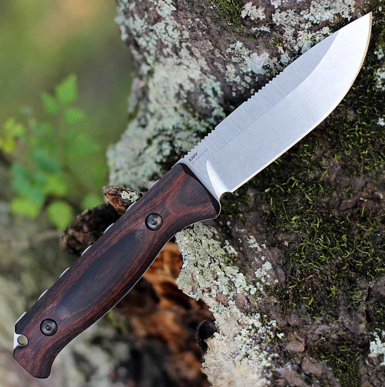 "Benchmade 15002 Saddle Mountain Skinner, 4.20"" CPM-S30V Satin Drop Point Blade, Stabilized Wood Handle"