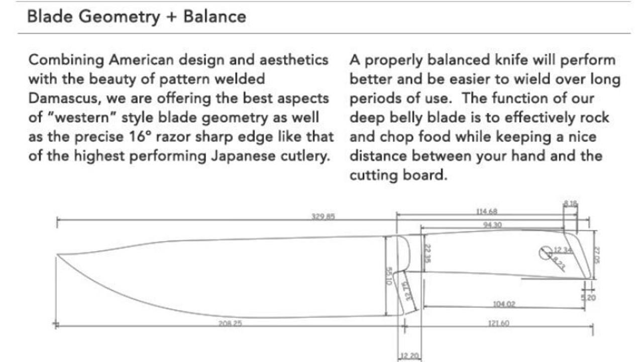 "Mattia Borrani Cutlery 087B Bowie Chef , 8.2"" SS Clad w/VG-10 core Blade, Micarta Handle"