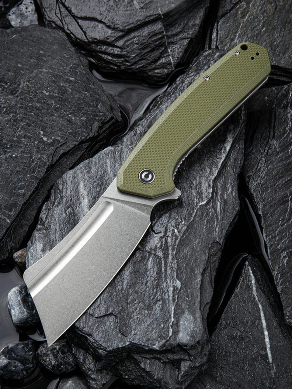 "Civivi Bullmastiff Linerlock OD Green C2006A, 3.83"" 9Cr18MoV Stonewashed Plain Blade, OD Green G10 Handle"