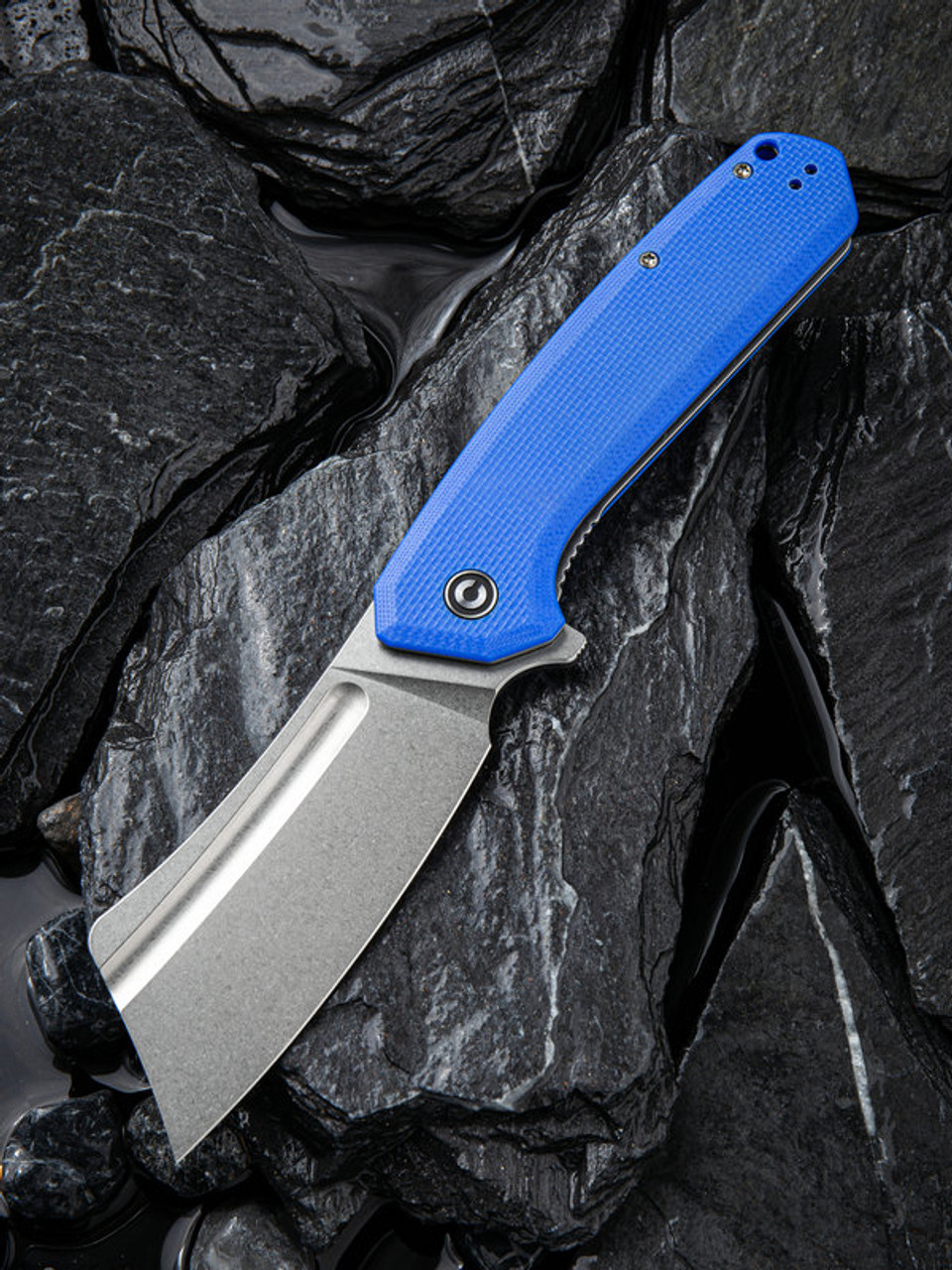 "Civivi Bullmastiff Linerlock Blue C2006B, 3.83"" 9Cr18MoV Stonewashed Plain Blade, Blue G10 Handle"
