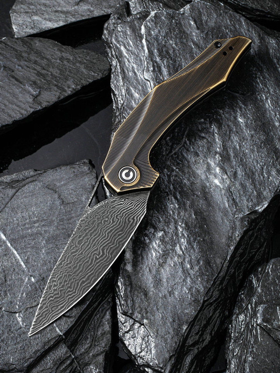 "Civivi Plethiros Linerlock Brass C904DS3, 3.45"" 154CM Damascus Plain Blade, Brass Handle"
