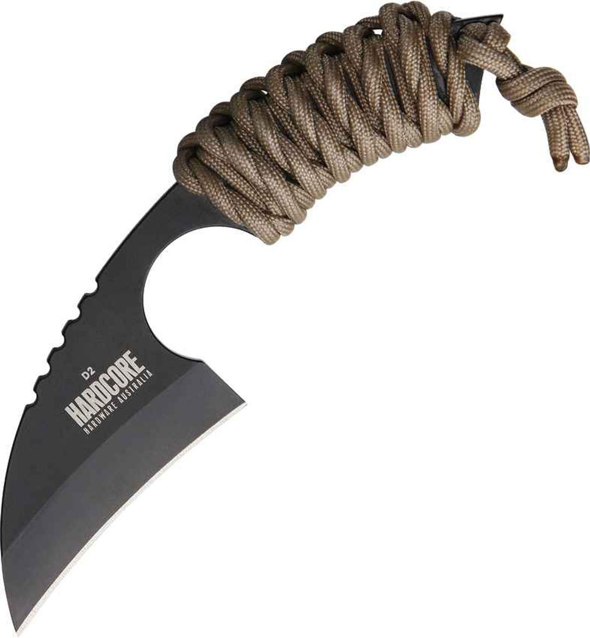 Hardcore Hardware Australia Little Field Knife, D2 Steel, Coyote Brown Para-cord Handle