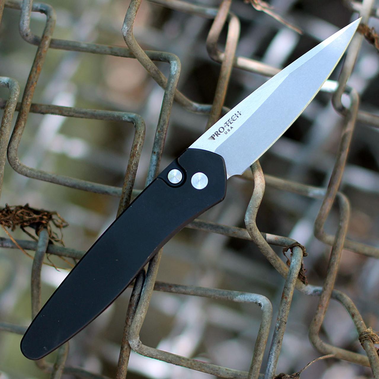 "ProTech 3405-LH Left Handed Newport, 3"" S35VN Stonewashed Plain Blade, Black Aluminum Handles"