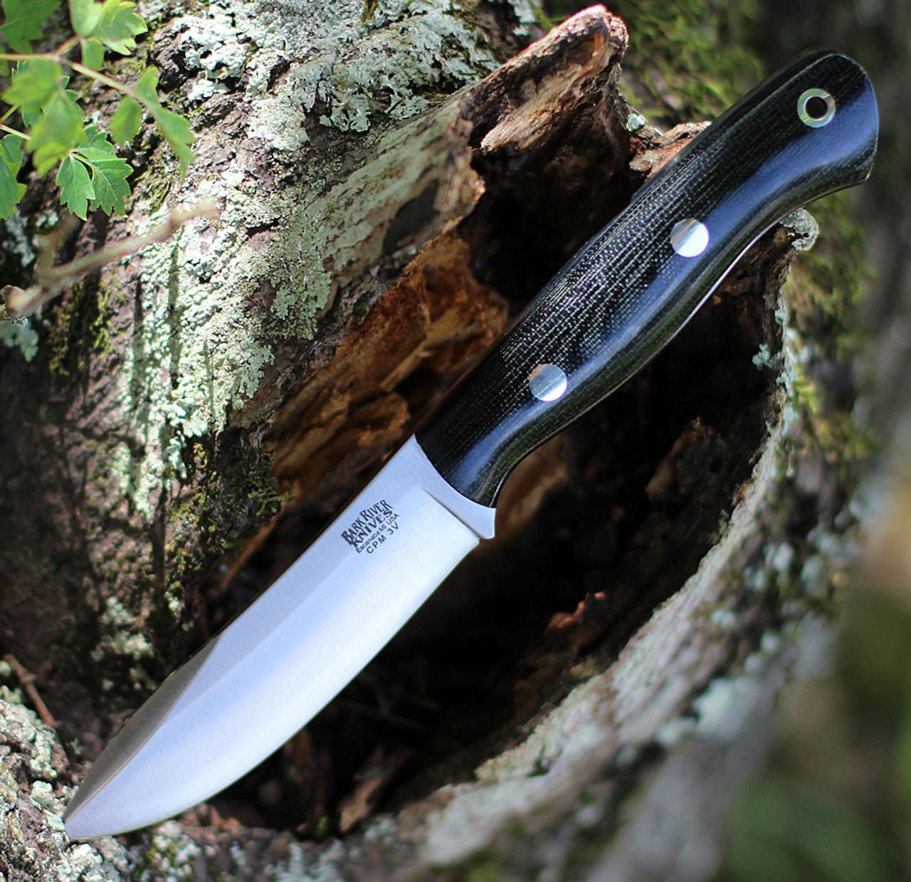 "Bark River Knives Mini Aurora Hunter BA06028MBC, 3.71"" CPM 3V Plain Blade, Black Canvas Micarta Handle"
