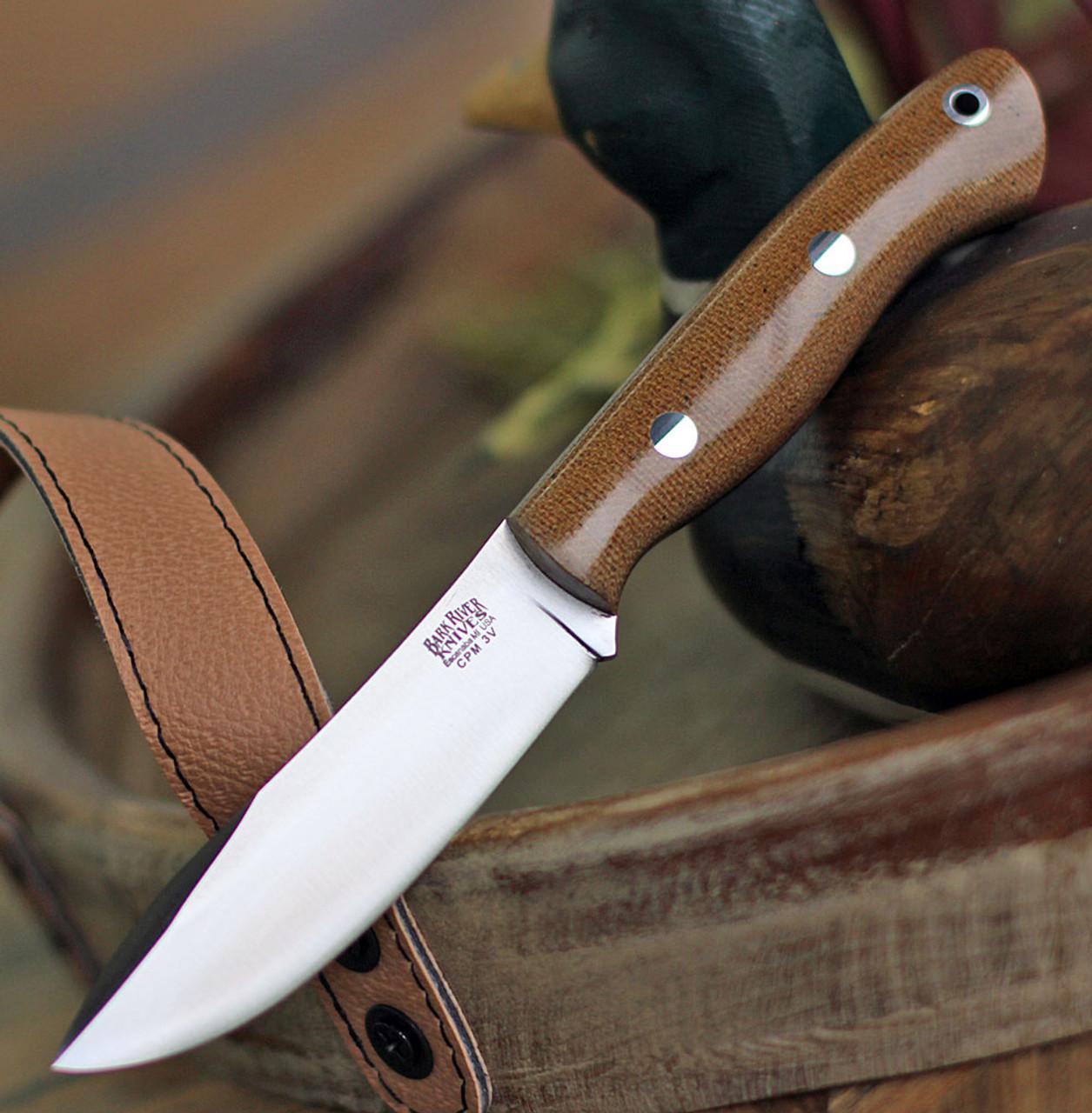 "Bark River Knives Mini Aurora Hunter BA06028MNC, 3.71"" CPM 3V Plain Blade, Natural Canvas Micarta Handle"