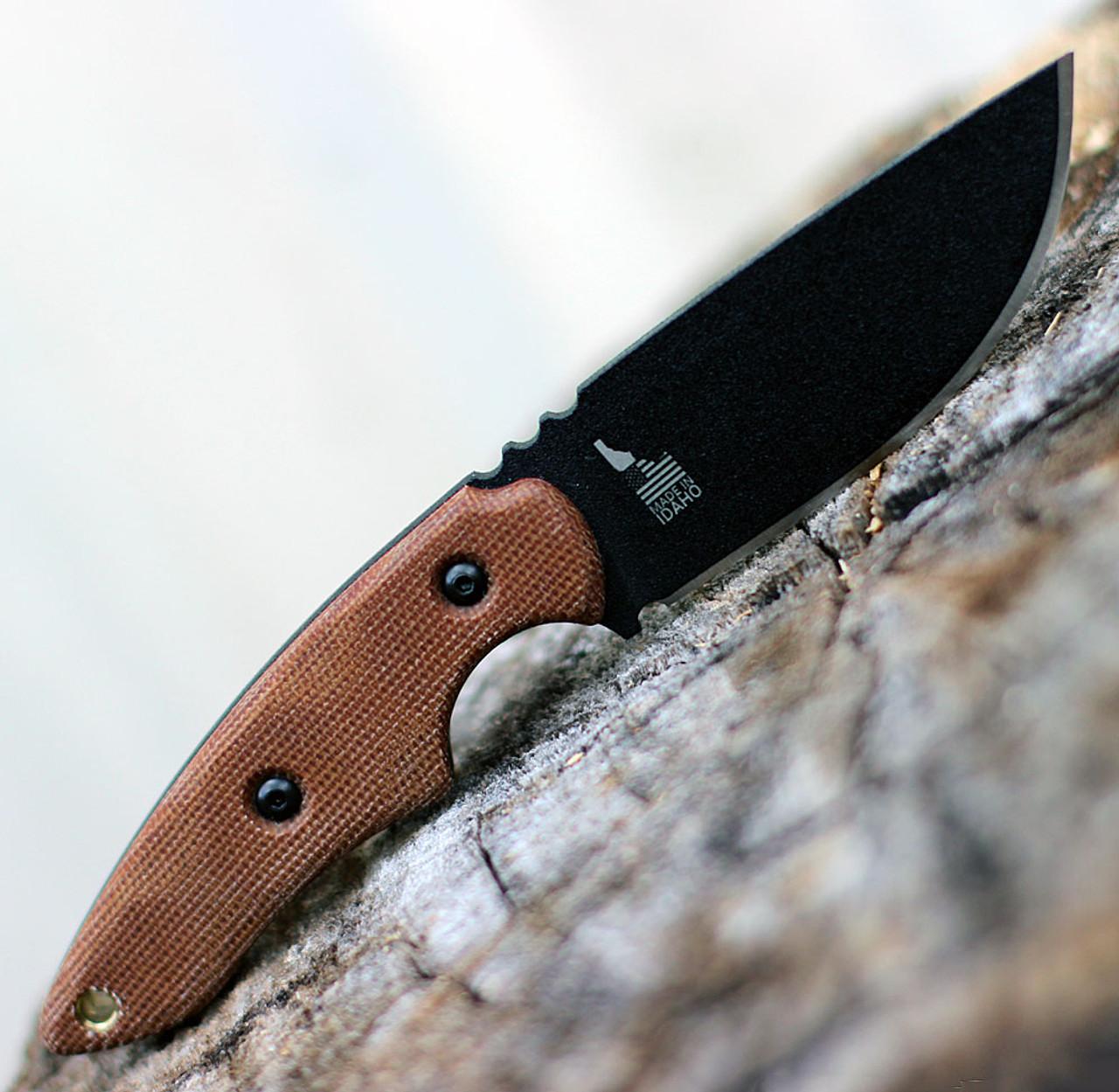 "TOPS Knives 3 Pointer Tan Canvas 3PR-02, 3.13"" 1095 Carbon Steel Black Blade, Tan Canvas Handle"